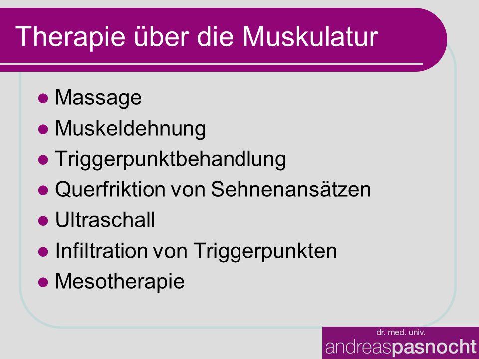 Therapie über die Muskulatur Massage Muskeldehnung Triggerpunktbehandlung Querfriktion von Sehnenansätzen Ultraschall Infiltration von Triggerpunkten Mesotherapie