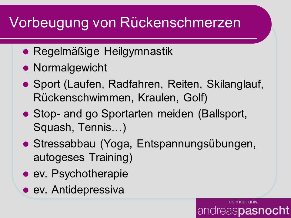 Vorbeugung von Rückenschmerzen Regelmäßige Heilgymnastik Normalgewicht Sport (Laufen, Radfahren, Reiten, Skilanglauf, Rückenschwimmen, Kraulen, Golf)