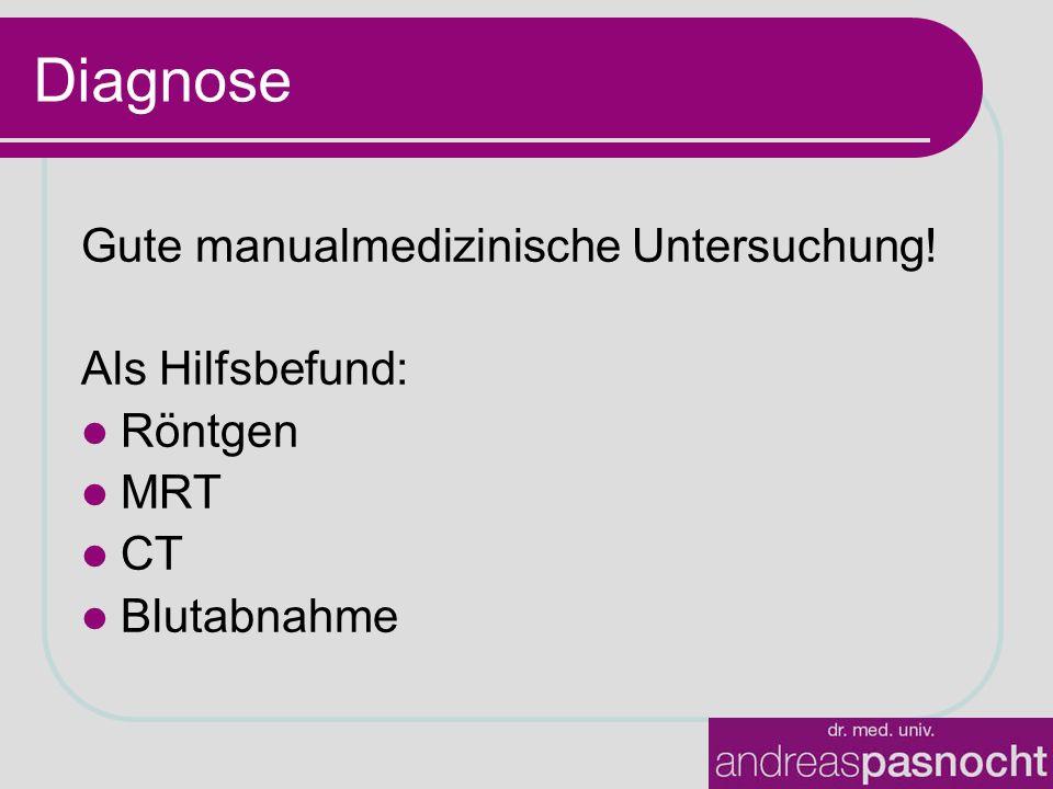 Diagnose Gute manualmedizinische Untersuchung! Als Hilfsbefund: Röntgen MRT CT Blutabnahme