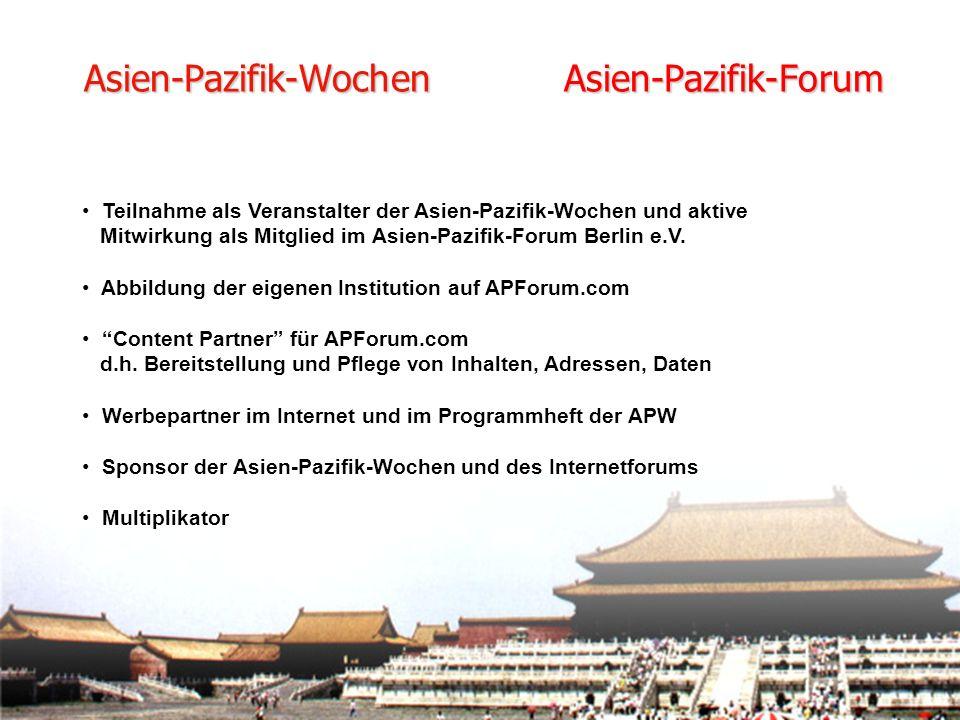 Teilnahme als Veranstalter der Asien-Pazifik-Wochen und aktive Mitwirkung als Mitglied im Asien-Pazifik-Forum Berlin e.V.