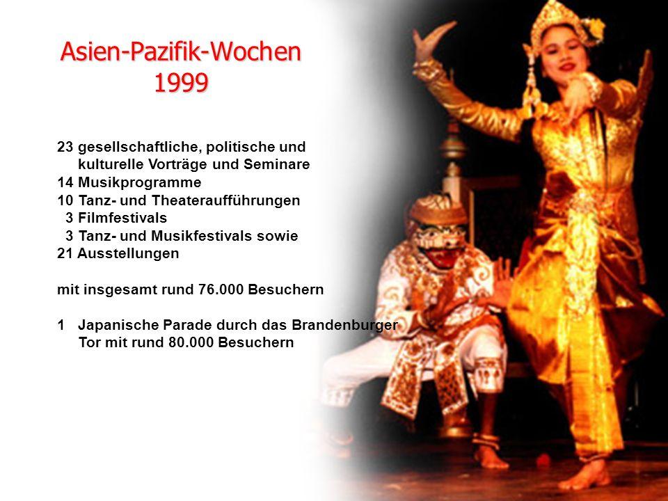 Asien-Pazifik-Wochen 1999 23 gesellschaftliche, politische und kulturelle Vorträge und Seminare 14 Musikprogramme 10 Tanz- und Theateraufführungen 3 Filmfestivals 3 Tanz- und Musikfestivals sowie 21 Ausstellungen mit insgesamt rund 76.000 Besuchern 1 Japanische Parade durch das Brandenburger Tor mit rund 80.000 Besuchern