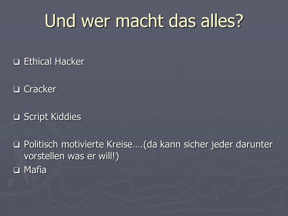 Und wer macht das alles? Ethical Hacker Ethical Hacker Cracker Cracker Script Kiddies Script Kiddies Politisch motivierte Kreise….(da kann sicher jede