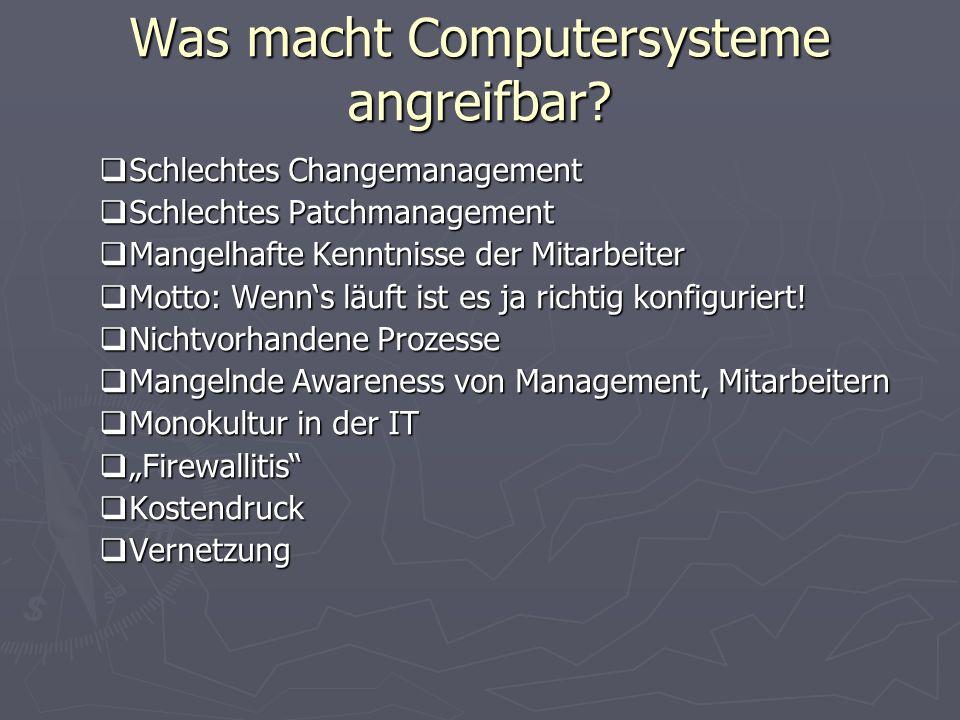 Was macht Computersysteme angreifbar? Schlechtes Changemanagement Schlechtes Changemanagement Schlechtes Patchmanagement Schlechtes Patchmanagement Ma