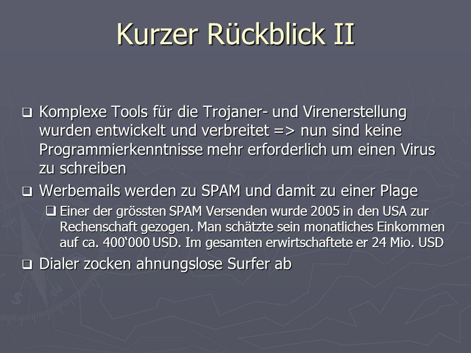 Kurzer Rückblick II Komplexe Tools für die Trojaner- und Virenerstellung wurden entwickelt und verbreitet => nun sind keine Programmierkenntnisse mehr