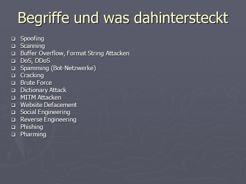 Begriffe und was dahintersteckt Spoofing Spoofing Scanning Scanning Buffer Overflow, Format String Attacken Buffer Overflow, Format String Attacken Do