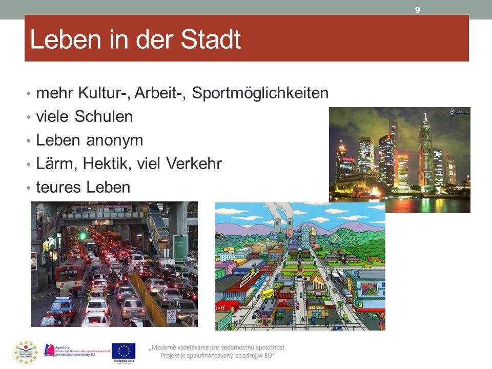 Leben in der Stadt mehr Kultur-, Arbeit-, Sportmöglichkeiten viele Schulen Leben anonym Lärm, Hektik, viel Verkehr teures Leben 9