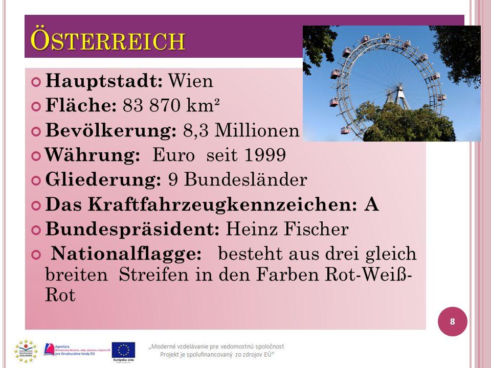 Ö STERREICH Hauptstadt: Wien Fläche: 83 870 km² Bevölkerung: 8,3 Millionen Währung: Euro seit 1999 Gliederung: 9 Bundesländer Das Kraftfahrzeugkennzei