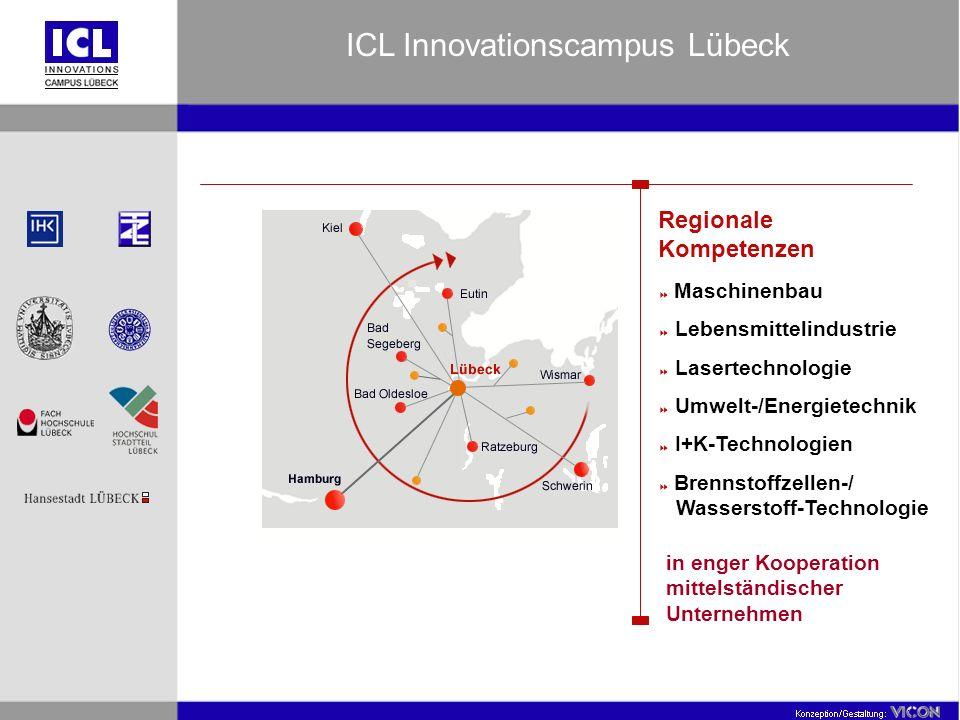 Regionale Kompetenzen Maschinenbau Lebensmittelindustrie Lasertechnologie Umwelt-/Energietechnik I+K-Technologien Brennstoffzellen-/ Wasserstoff-Technologie in enger Kooperation mittelständischer Unternehmen ICL Innovationscampus Lübeck
