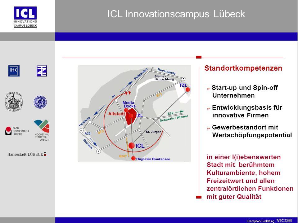 Standortkompetenzen Start-up und Spin-off Unternehmen Entwicklungsbasis für innovative Firmen Gewerbestandort mit Wertschöpfungspotential in einer l(i)ebenswerten Stadt mit berühmtem Kulturambiente, hohem Freizeitwert und allen zentralörtlichen Funktionen mit guter Qualität ICL Innovationscampus Lübeck