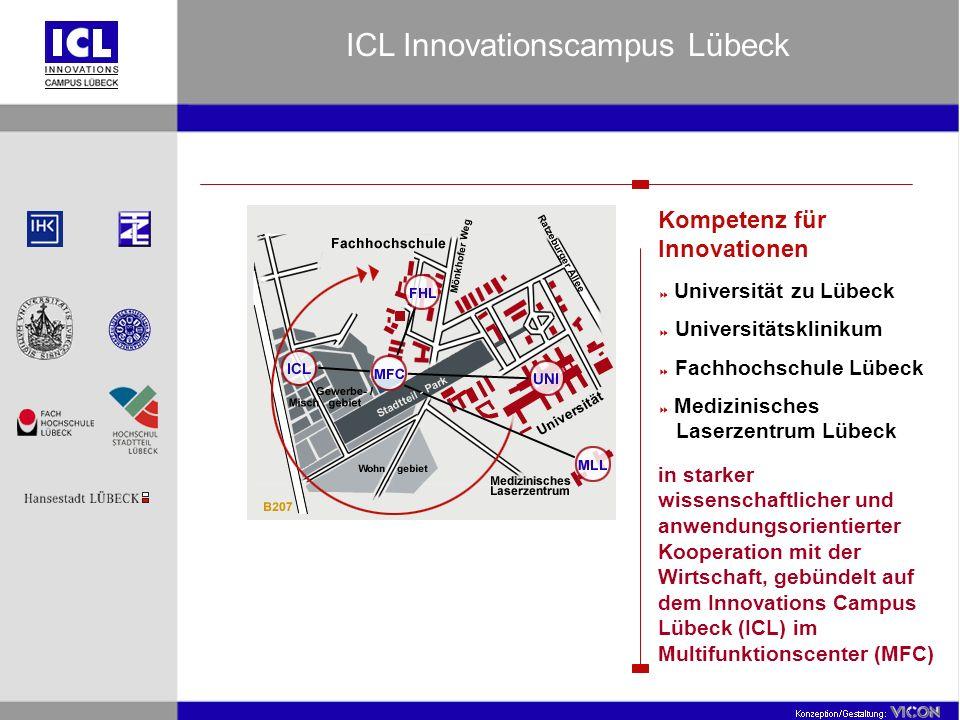 Kompetenz für Innovationen Universität zu Lübeck Universitätsklinikum Fachhochschule Lübeck Medizinisches Laserzentrum Lübeck in starker wissenschaftlicher und anwendungsorientierter Kooperation mit der Wirtschaft, gebündelt auf dem Innovations Campus Lübeck (ICL) im Multifunktionscenter (MFC) ICL Innovationscampus Lübeck