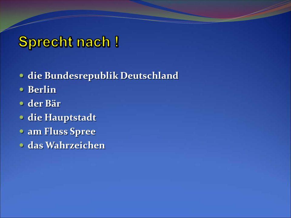 die Bundesrepublik Deutschland Berlin der Bär die Hauptstadt am Fluss Spree das Wahrzeichen die Bundesrepublik Deutschland Berlin der Bär die Hauptsta
