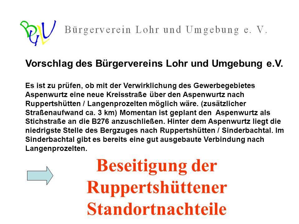 Lösung: Verbesserung der Anbindung an Lohr - durch Ausbau der Straße über das Katharienenbild - alternativ -> Ausbau Richtung Aspenwurzel