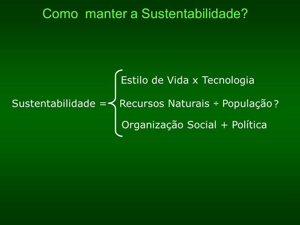 Sustentabilidade =Recursos Naturais ÷ População Estilo de Vida x Tecnologia Organização Social + Política .