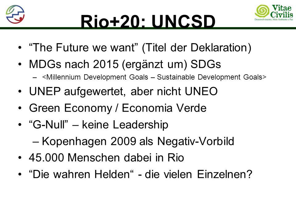 Rio+20: UNCSD The Future we want (Titel der Deklaration) MDGs nach 2015 (ergänzt um) SDGs – UNEP aufgewertet, aber nicht UNEO Green Economy / Economia Verde G-Null – keine Leadership –Kopenhagen 2009 als Negativ-Vorbild 45.000 Menschen dabei in Rio Die wahren Helden - die vielen Einzelnen?