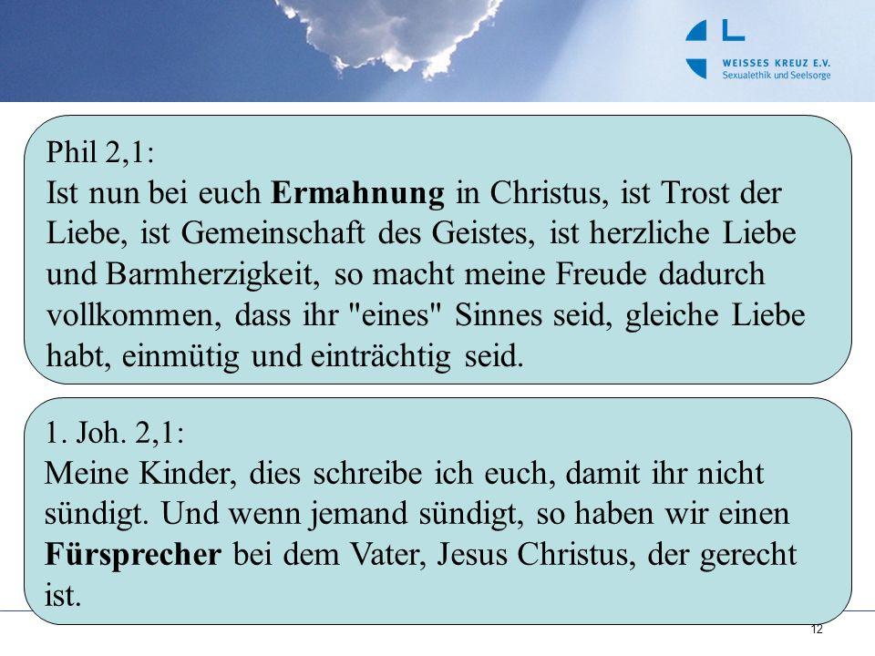 12 1. Joh. 2,1: Meine Kinder, dies schreibe ich euch, damit ihr nicht sündigt. Und wenn jemand sündigt, so haben wir einen Fürsprecher bei dem Vater,