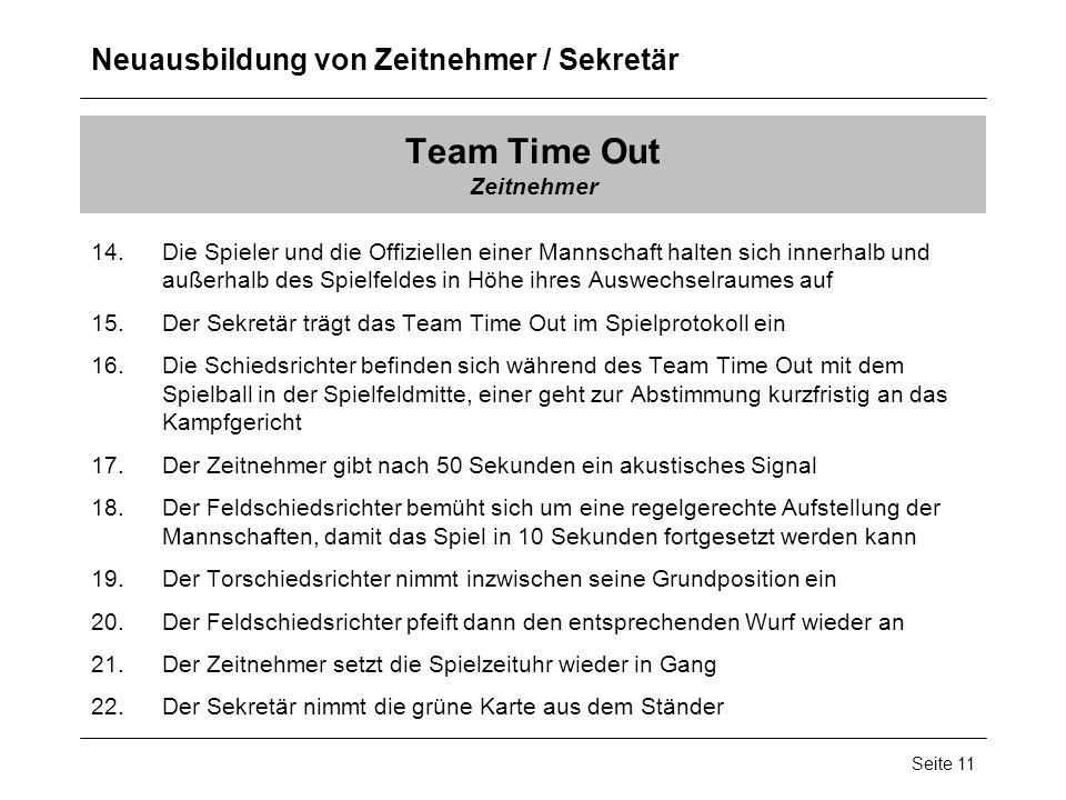 Neuausbildung von Zeitnehmer / Sekretär Seite 11 Team Time Out Zeitnehmer 14.Die Spieler und die Offiziellen einer Mannschaft halten sich innerhalb un