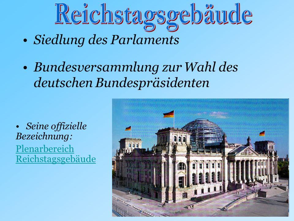 Siedlung des Parlaments Bundesversammlung zur Wahl des deutschen Bundespräsidenten Seine offizielle Bezeichnung: Plenarbereich Reichstagsgebäude