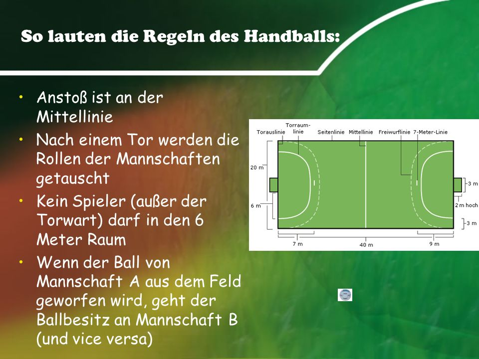 So lauten die Regeln des Handballs: Anstoß ist an der Mittellinie Nach einem Tor werden die Rollen der Mannschaften getauscht Kein Spieler (außer der Torwart) darf in den 6 Meter Raum Wenn der Ball von Mannschaft A aus dem Feld geworfen wird, geht der Ballbesitz an Mannschaft B (und vice versa)