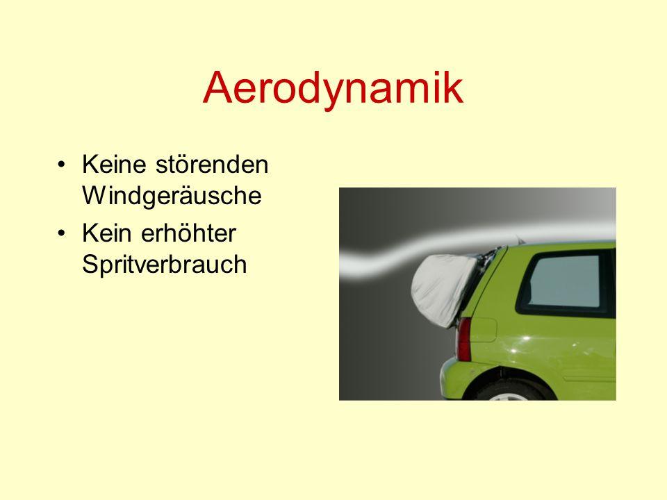 Aerodynamik Keine störenden Windgeräusche Kein erhöhter Spritverbrauch
