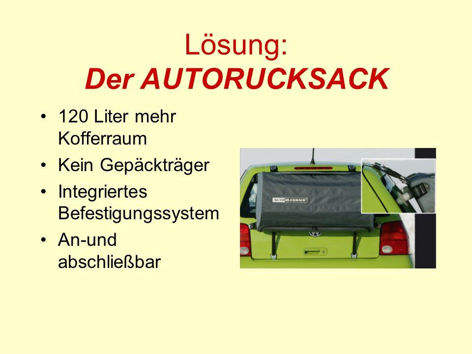 Lösung: Der AUTORUCKSACK 120 Liter mehr Kofferraum Kein Gepäckträger Integriertes Befestigungssystem An-und abschließbar