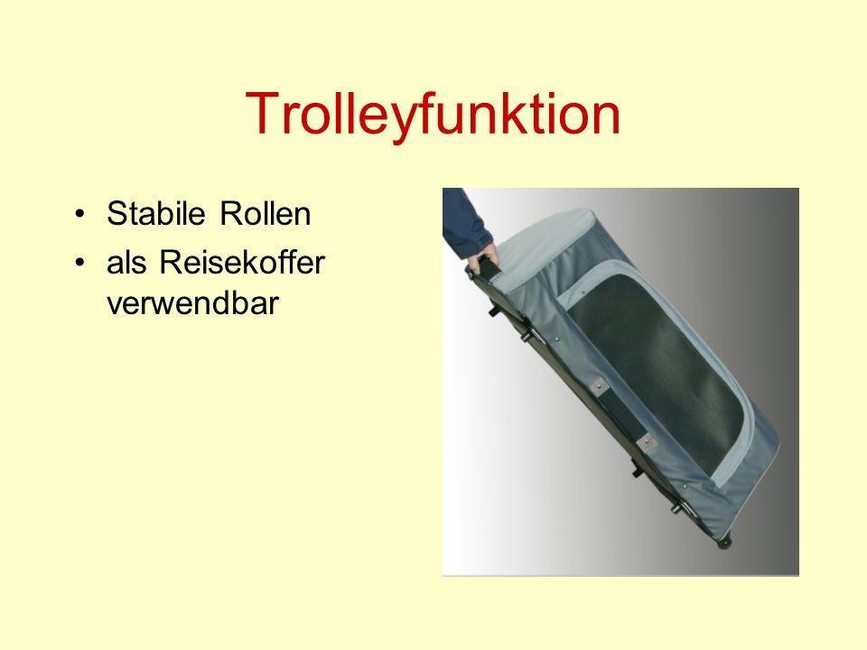 Trolleyfunktion Stabile Rollen als Reisekoffer verwendbar