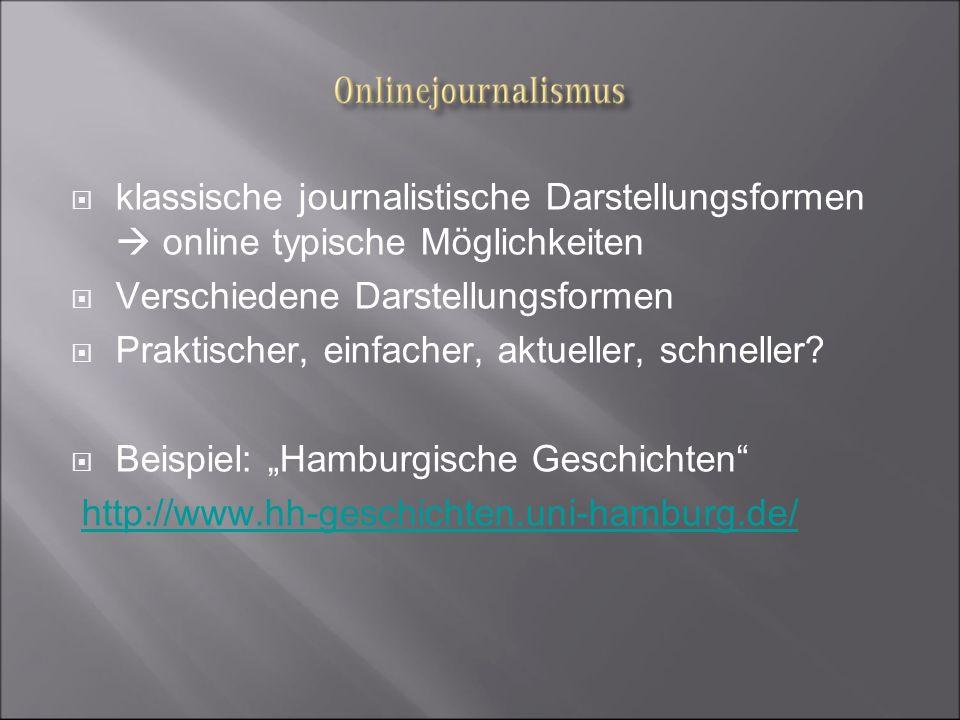 klassische journalistische Darstellungsformen online typische Möglichkeiten Verschiedene Darstellungsformen Praktischer, einfacher, aktueller, schnell