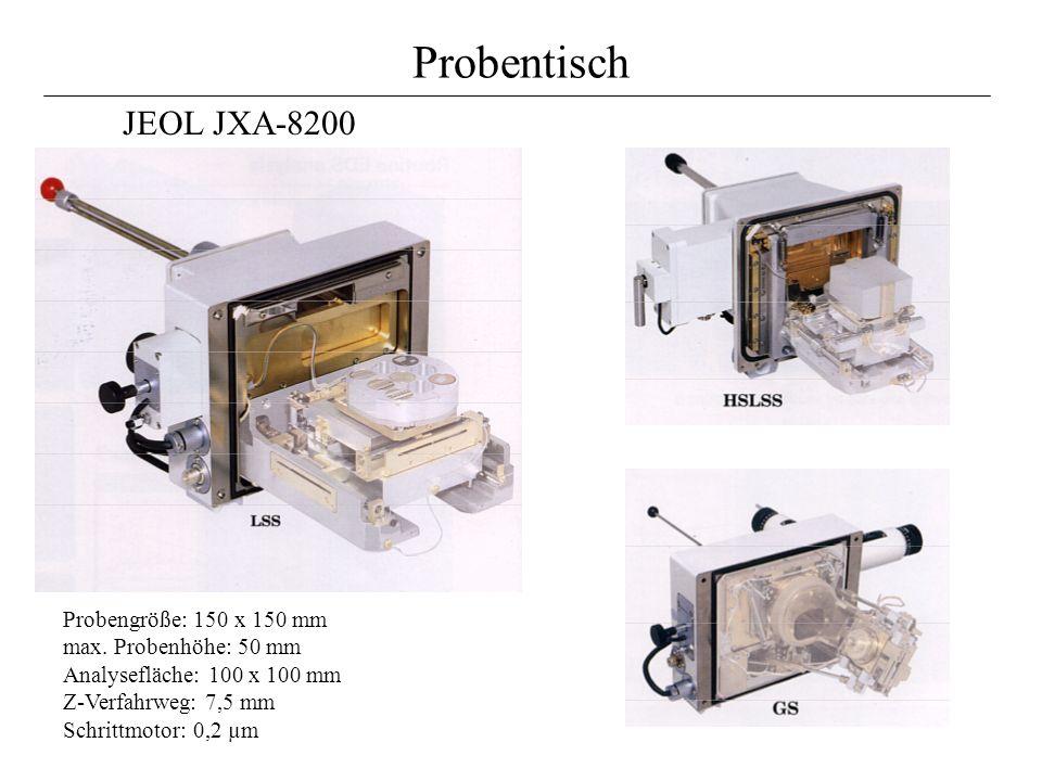 Probentisch Probengröße: 150 x 150 mm max. Probenhöhe: 50 mm Analysefläche: 100 x 100 mm Z-Verfahrweg: 7,5 mm Schrittmotor: 0,2 µm JEOL JXA-8200