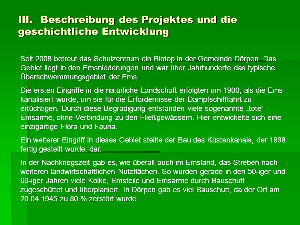 III. Beschreibung des Projektes und die geschichtliche Entwicklung Seit 2008 betreut das Schulzentrum ein Biotop in der Gemeinde Dörpen. Das Gebiet li
