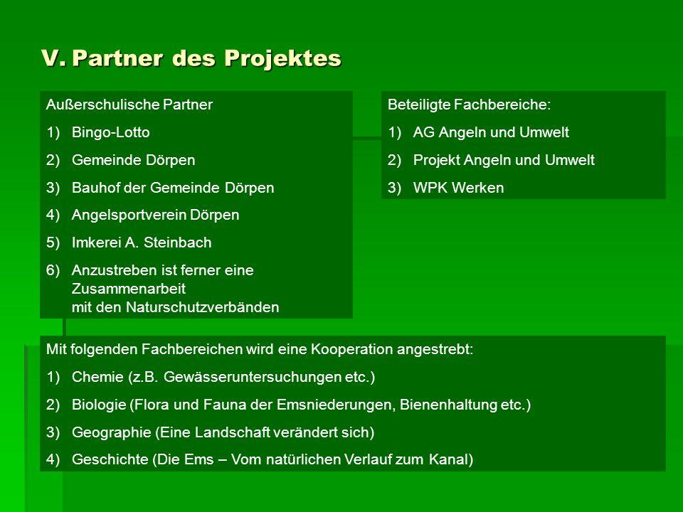 V. Partner des Projektes Außerschulische Partner 1)Bingo-Lotto 2)Gemeinde Dörpen 3)Bauhof der Gemeinde Dörpen 4)Angelsportverein Dörpen 5)Imkerei A. S