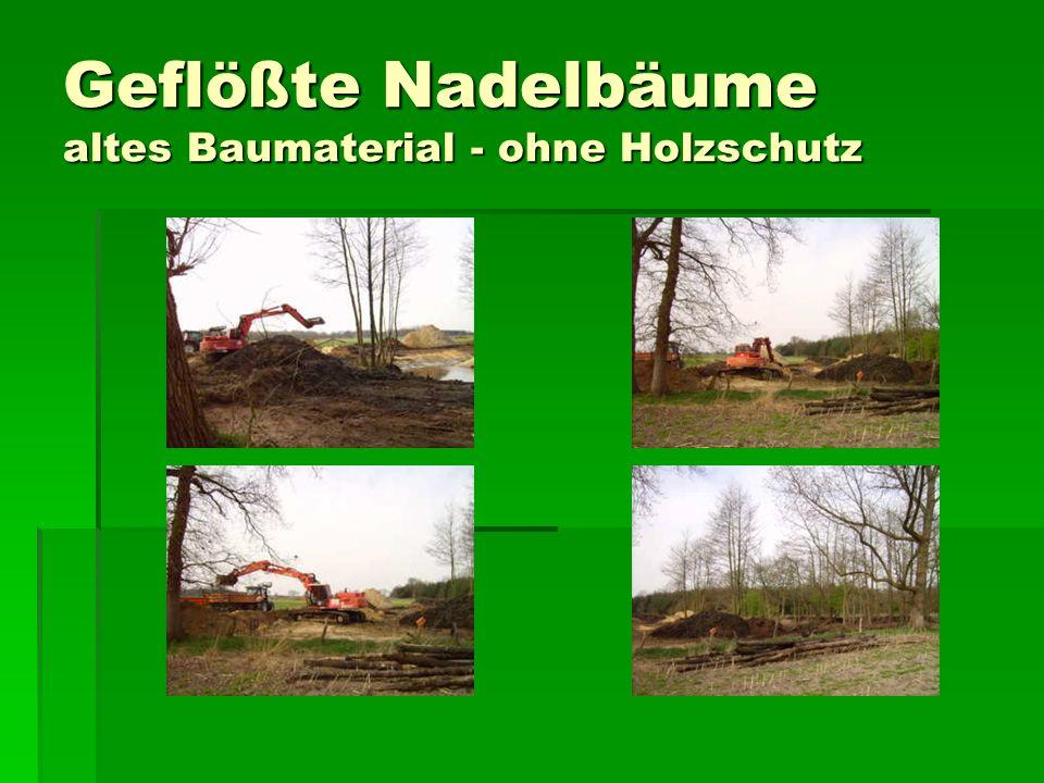 Geflößte Nadelbäume altes Baumaterial - ohne Holzschutz