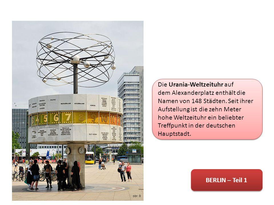 Die Urania-Weltzeituhr auf dem Alexanderplatz enthält die Namen von 148 Städten.