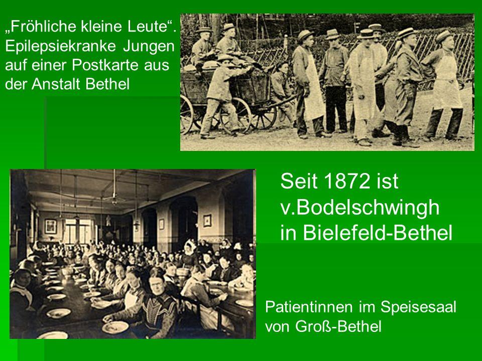 Patientinnen im Speisesaal von Groß-Bethel Fröhliche kleine Leute. Epilepsiekranke Jungen auf einer Postkarte aus der Anstalt Bethel Seit 1872 ist v.B