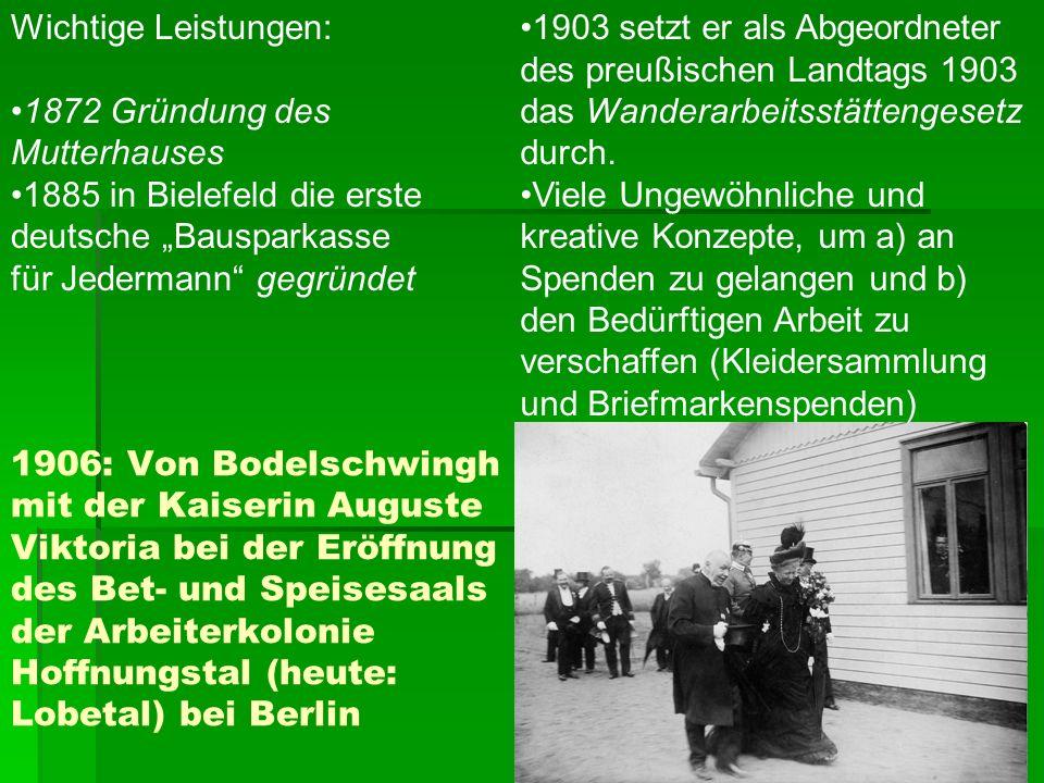 1906: Von Bodelschwingh mit der Kaiserin Auguste Viktoria bei der Eröffnung des Bet- und Speisesaals der Arbeiterkolonie Hoffnungstal (heute: Lobetal)