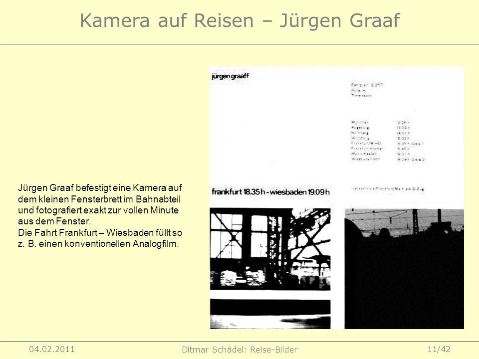 04.02.2011 Ditmar Schädel: Reise-Bilder 11/42 Kamera auf Reisen – Jürgen Graaf Jürgen Graaf befestigt eine Kamera auf dem kleinen Fensterbrett im Bahn