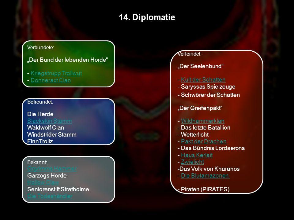 14. Diplomatie Verbündete: Der Bund der lebenden Horde - Kriegstrupp TrollwutKriegstrupp Trollwut - Donneraxt ClanDonneraxt Clan Befreundet: Die Herde