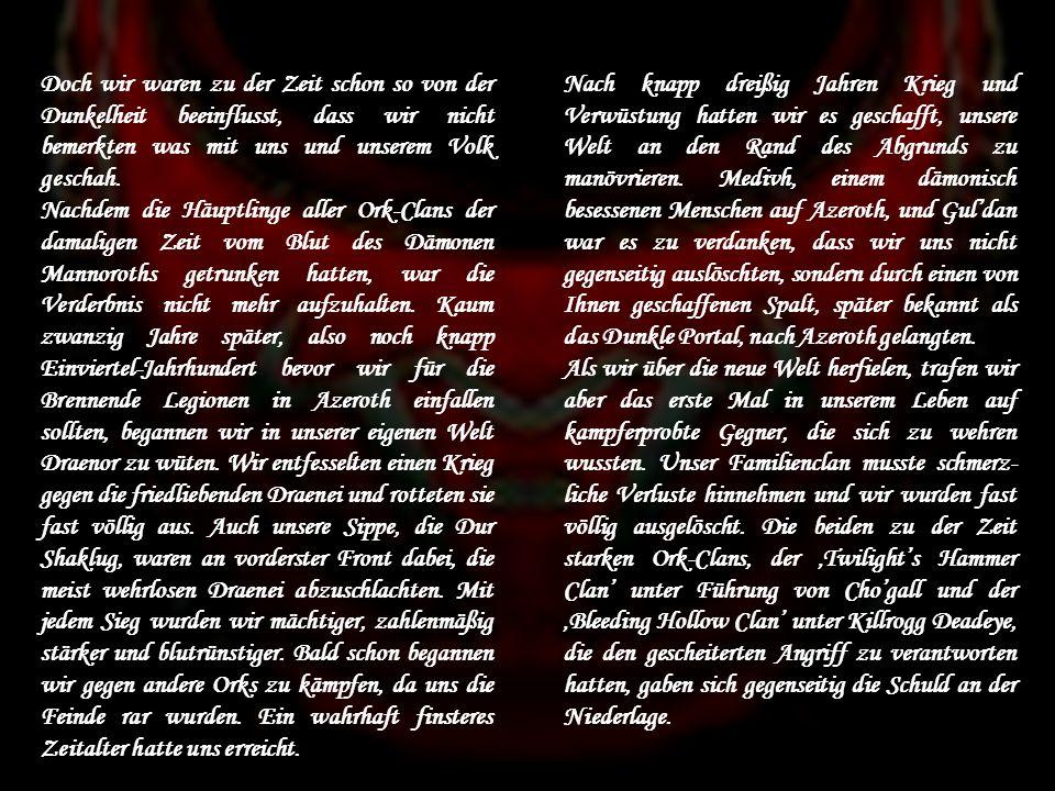 Beschreibung des Ränge im Detail: Schamanen: Aufgrund der schamanistischen Wurzeln des Clans genießen die Schamanen eine Ausnahme-Rolle Elementarschamanen: - 4 Schamanen; unterstehen dem Geistigen Führer und gehen ihm bei Ritualen u.ä.