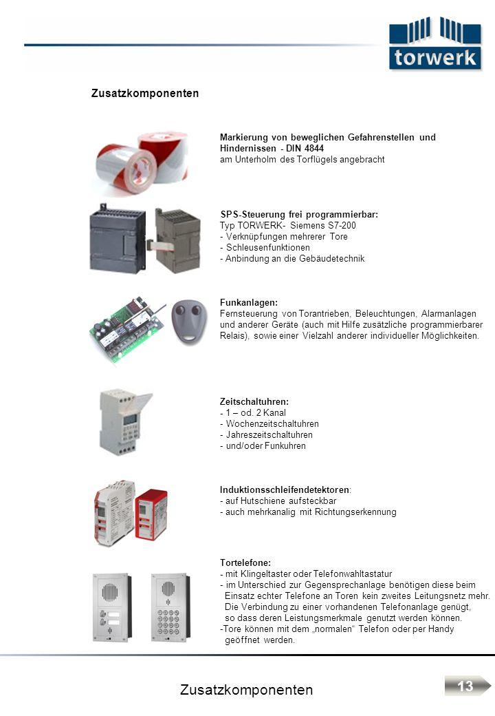 Zusatzkomponenten Markierung von beweglichen Gefahrenstellen und Hindernissen - DIN 4844 am Unterholm des Torflügels angebracht SPS-Steuerung frei pro
