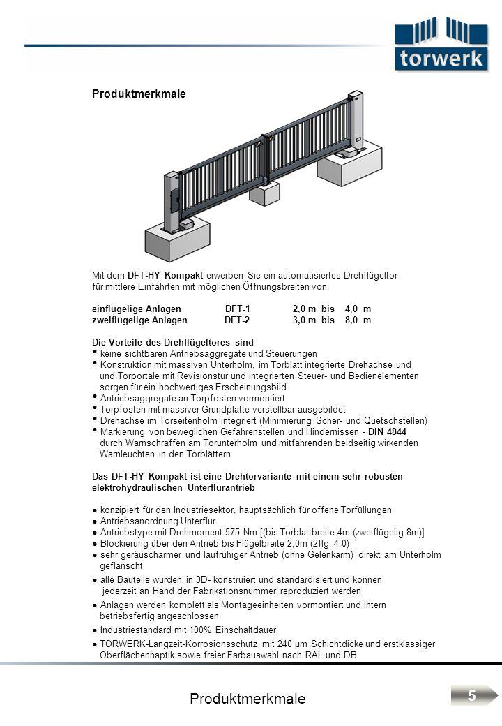 Produktmerkmale Mit dem DFT-HY Kompakt erwerben Sie ein automatisiertes Drehflügeltor für mittlere Einfahrten mit möglichen Öffnungsbreiten von: einfl
