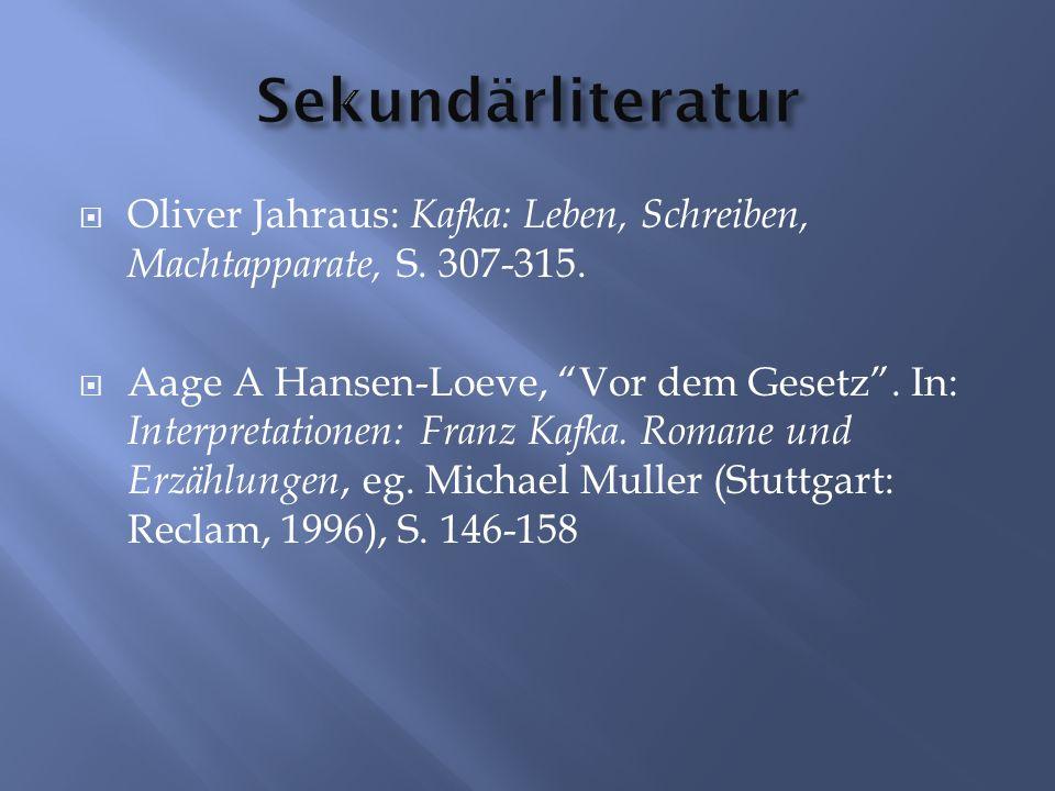 Oliver Jahraus: Kafka: Leben, Schreiben, Machtapparate, S.
