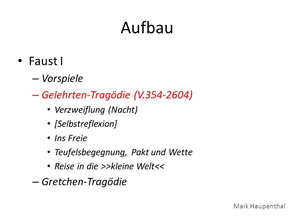 Aufbau Faust I – Vorspiele – Gelehrten-Tragödie (V.354-2604) Verzweiflung (Nacht) [Selbstreflexion] Ins Freie Teufelsbegegnung, Pakt und Wette Reise i