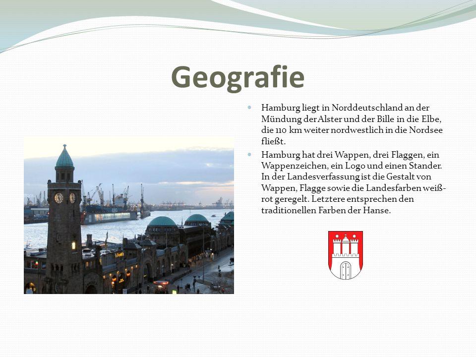 Geografie Hamburg liegt in Norddeutschland an der Mündung der Alster und der Bille in die Elbe, die 110 km weiter nordwestlich in die Nordsee fließt.