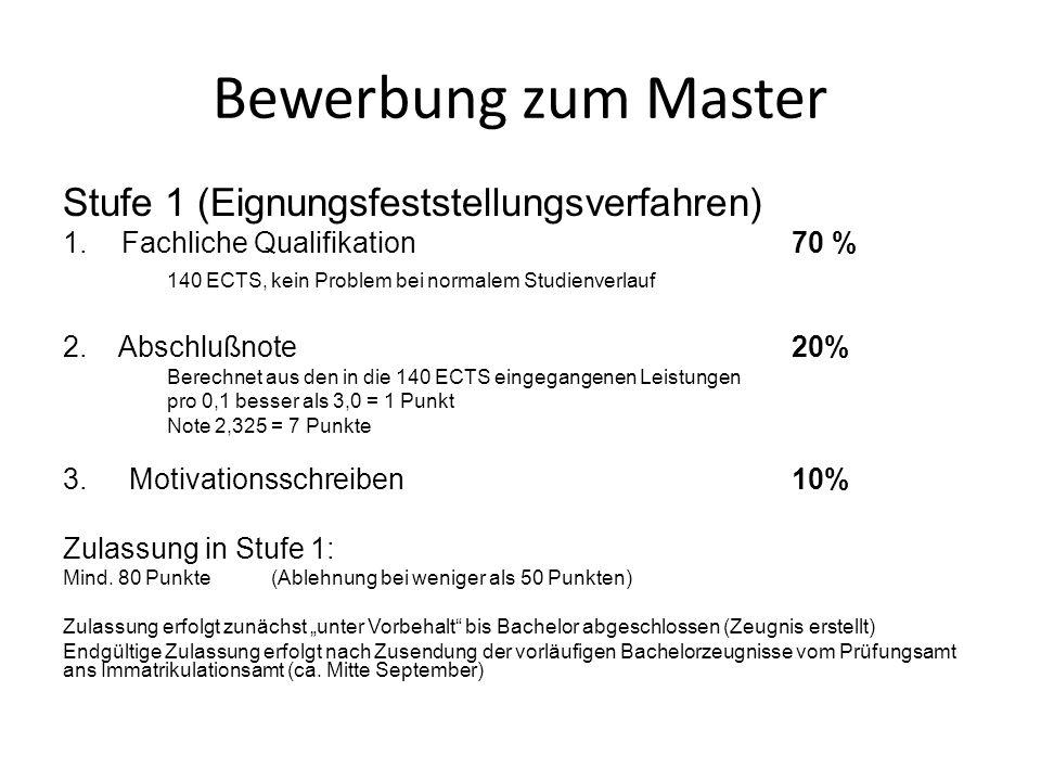 Bewerbung zum Master Stufe 1 (Eignungsfeststellungsverfahren) 1.Fachliche Qualifikation70 % 140 ECTS, kein Problem bei normalem Studienverlauf 2. Absc