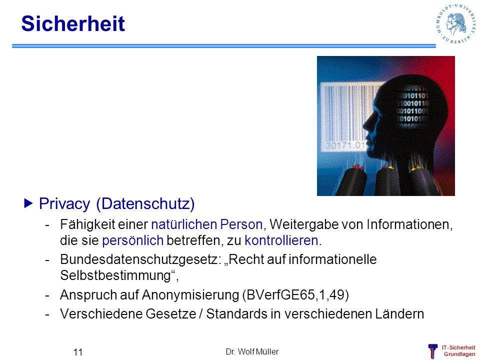 IT-Sicherheit Grundlagen Dr. Wolf Müller 11 Sicherheit Privacy (Datenschutz) -Fähigkeit einer natürlichen Person, Weitergabe von Informationen, die si