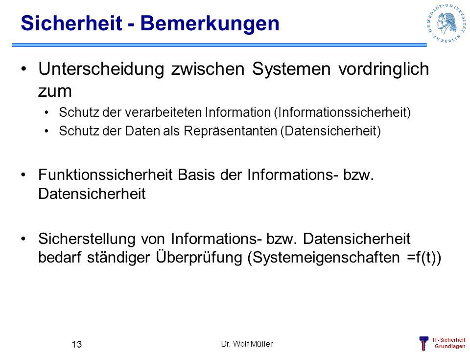 IT-Sicherheit Grundlagen Dr. Wolf Müller 13 Sicherheit - Bemerkungen Unterscheidung zwischen Systemen vordringlich zum Schutz der verarbeiteten Inform