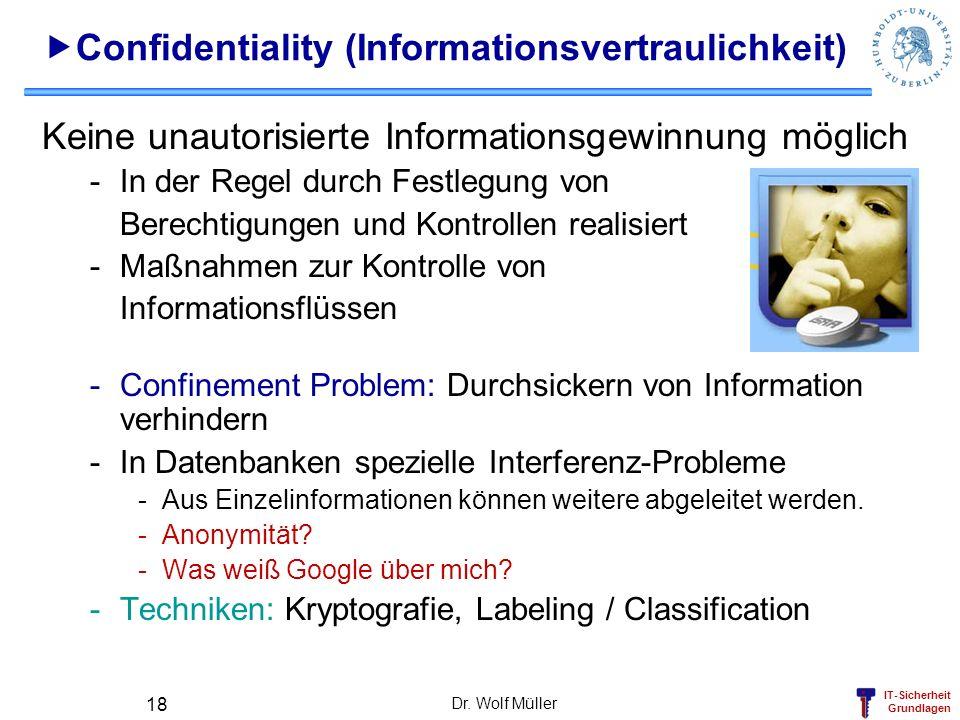 IT-Sicherheit Grundlagen Dr. Wolf Müller 18 Confidentiality (Informationsvertraulichkeit) Keine unautorisierte Informationsgewinnung möglich -In der R