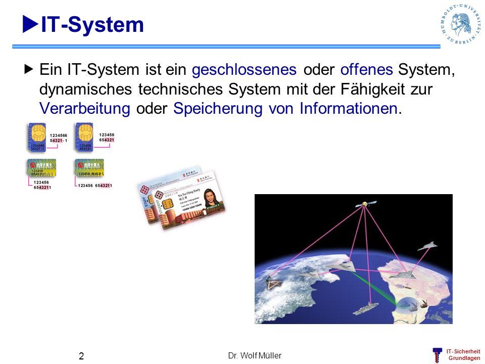 IT-Sicherheit Grundlagen Dr. Wolf Müller 2 IT-System Ein IT-System ist ein geschlossenes oder offenes System, dynamisches technisches System mit der F