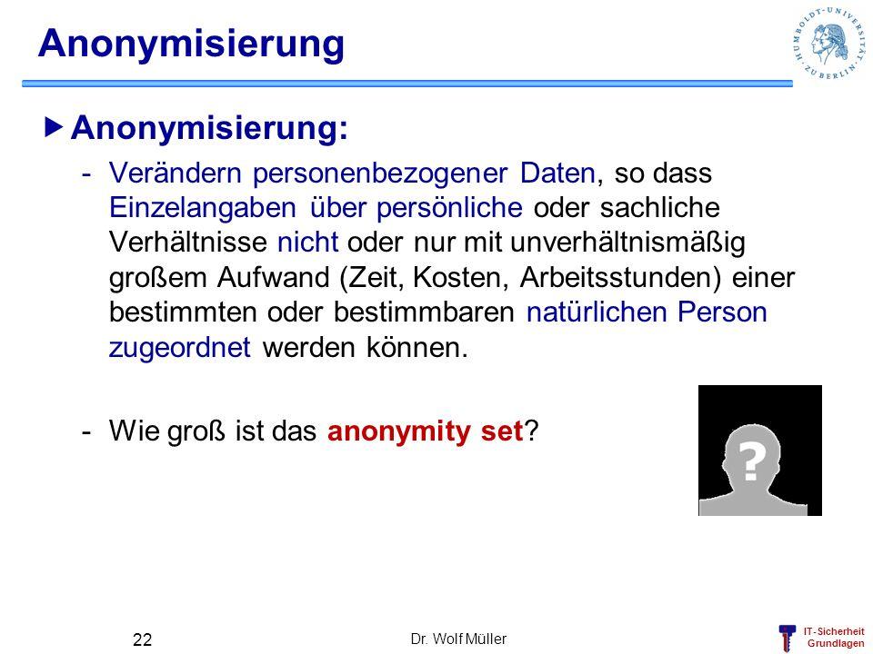 IT-Sicherheit Grundlagen Dr. Wolf Müller 22 Anonymisierung Anonymisierung: -Verändern personenbezogener Daten, so dass Einzelangaben über persönliche