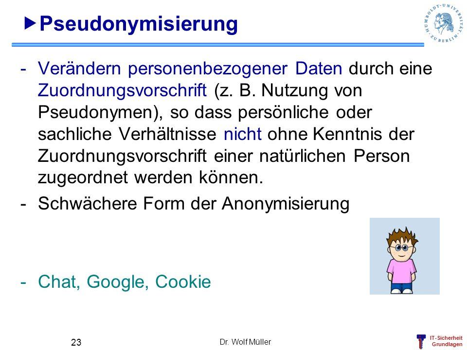 IT-Sicherheit Grundlagen Dr. Wolf Müller 23 Pseudonymisierung -Verändern personenbezogener Daten durch eine Zuordnungsvorschrift (z. B. Nutzung von Ps