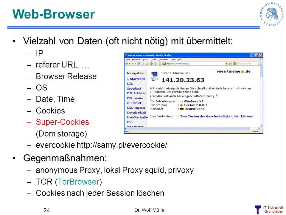 IT-Sicherheit Grundlagen Dr. Wolf Müller 24 Web-Browser Vielzahl von Daten (oft nicht nötig) mit übermittelt: –IP –referer URL, … –Browser Release –OS