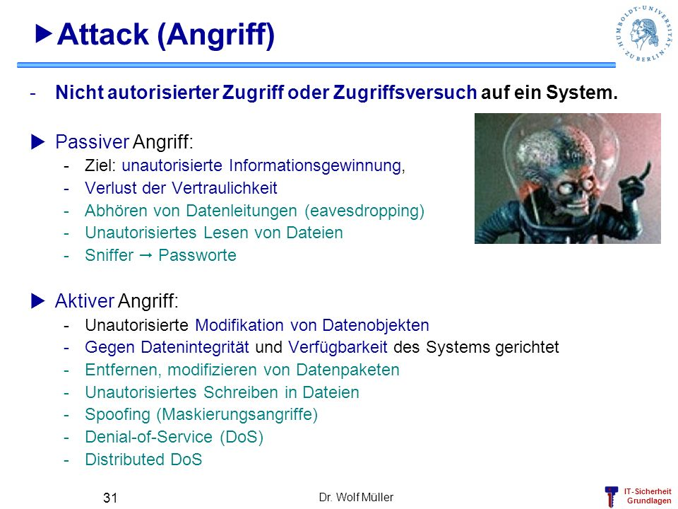 IT-Sicherheit Grundlagen Dr. Wolf Müller 31 Attack (Angriff) -Nicht autorisierter Zugriff oder Zugriffsversuch auf ein System. Passiver Angriff: -Ziel
